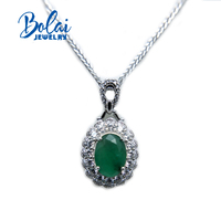 Bolaijewelry,classic pendant necklace natural emerald and ruby green amethyst fine jewelry for women anniversary party best gift