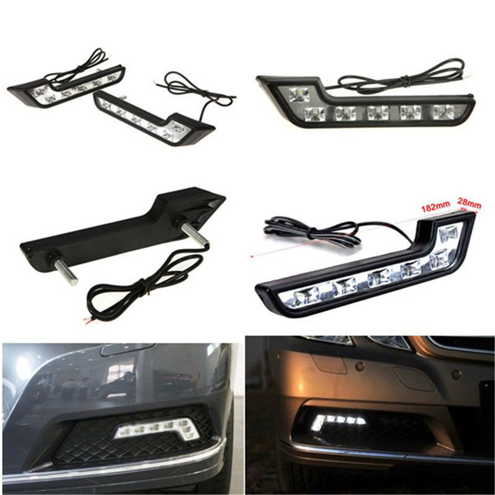 2PCS 6 LED Universal Car Auto Driving Lamp Fog 12V DRL Daytime Running Light White 2pcs h11 20smd 1000lm white led car auto drl parking driving daytime running lamp fog light head lamp 20 led drl daylight