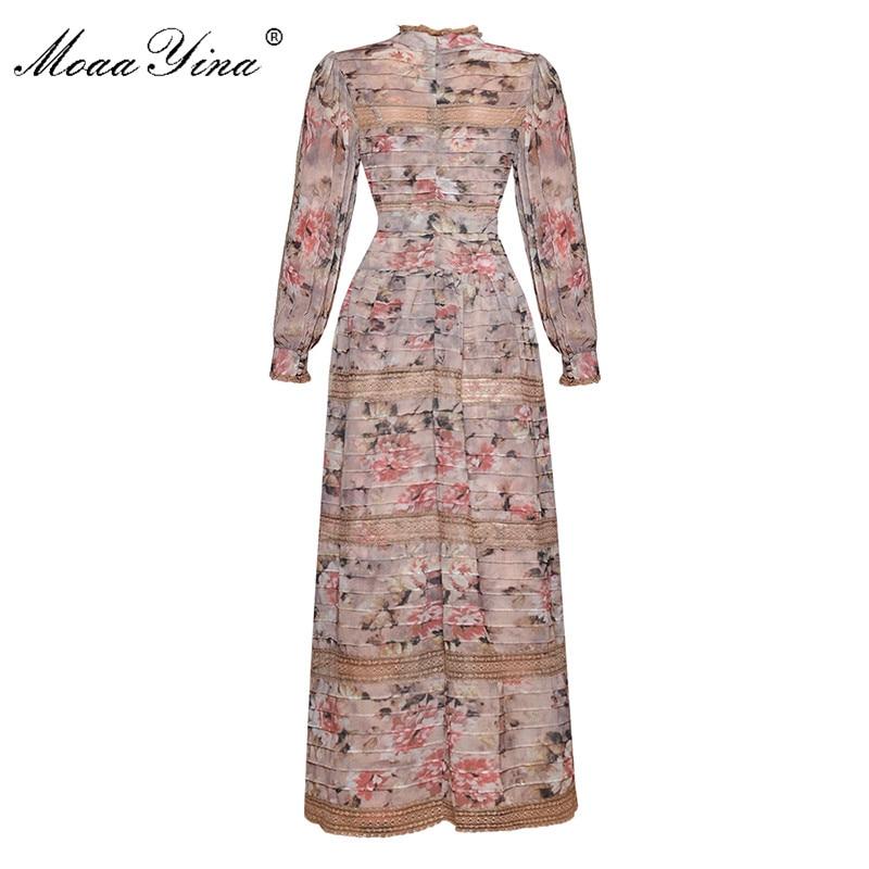 Kadın Giyim'ten Elbiseler'de MoaaYina Moda Tasarımcısı Pist elbise Bahar Kadın Elbise Vintage Baskı Fener Kollu Dantel Patchwork Dantel UP Maxi Elbiseler'da  Grup 2