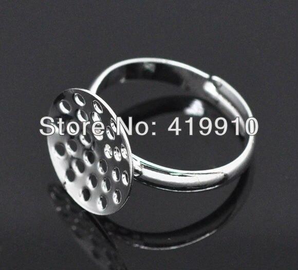 ec2213f94847 20 unids plata ajustable plateado anillo Bases hallazgos en blanco ajustes  del anillo 17.5mm ee.uu. 7 (bandeja  14mm) m00321