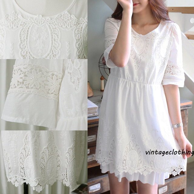 71394a0a5 2016 Vintage 70 s mexicano étnico bordado vestidos de moda ganchillo de  algodón blanco vestido de