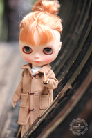 Free shipping Handmade Doll Clothes Ox horn button coat for bjd Azone Momoko Licca Pullip Blyth doll Accessories Toys Gift