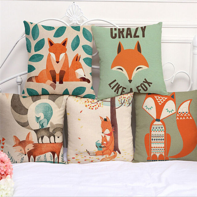 Fashion pillows New Cushion Pillow Cover  Case Fox Character  Bed  Festival Pillows