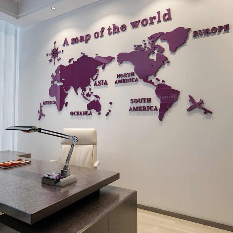 Карта мира DIY 3D акриловые наклейки для Гостиная образования карта мира настенные наклейки росписи для детей Спальня Об