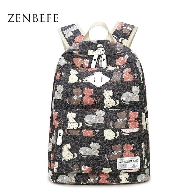 ZENBEFE Cute Backpack Quality Women Backpack Printing Backpacks For Girls Cat Pattern School Bag ForTeenagers Backpack Female
