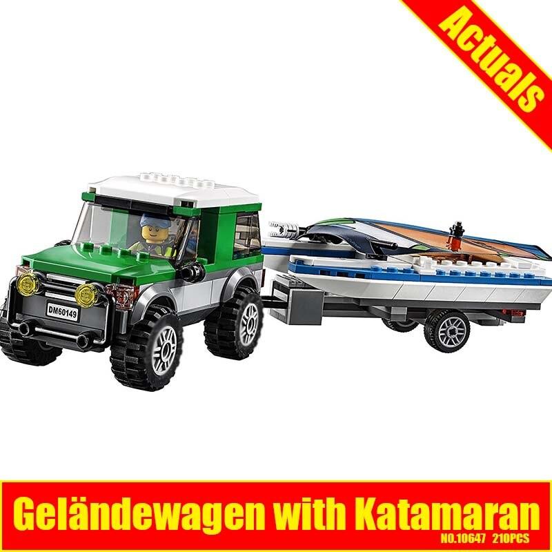 City Great Vehicles 4x4 with Catamaran Model Building Blocks 10647 Assemble Kit Bricks Children Toys Compatible 60149