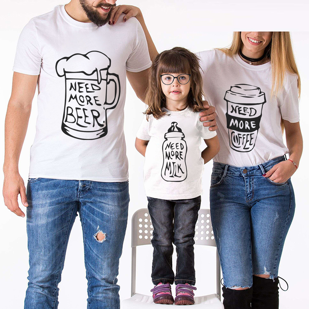 Family Look Matching Clothes Creative Milk Beer Coffee Letter Printed Mom And Daughter Father Son Outfits Cotton White T-Shirt