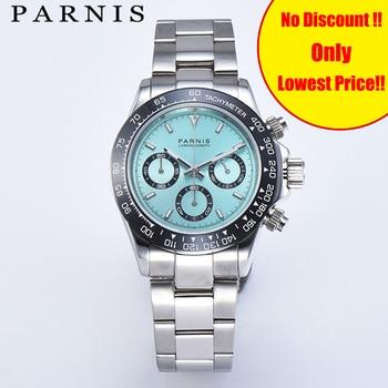 Parnis Watches Men Quartz Pilot Chronograph Top Brand Luxury Sapphire Crystal Luminous Men's Wrist Watch Relogio Masculino Clock