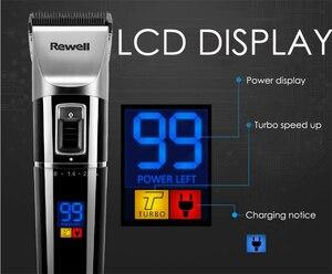 Image 4 - Rewell tondeuse à cheveux professionnelle, Rechargeable, batterie au Lithium, en alliage de titane, pour coiffeur, Turbo