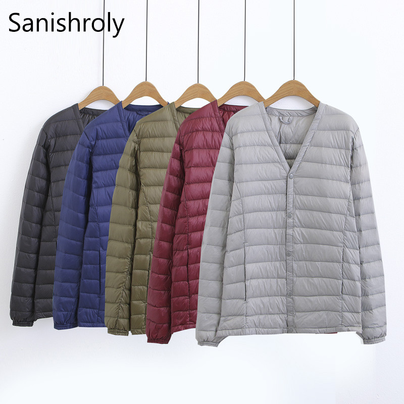 Sanishroly V-Neck Ultra Light White Duck   Down   Parka Jacket Winter Men's   Down     Coat   Male Thin Short Outwear Tops Plus Size SE348