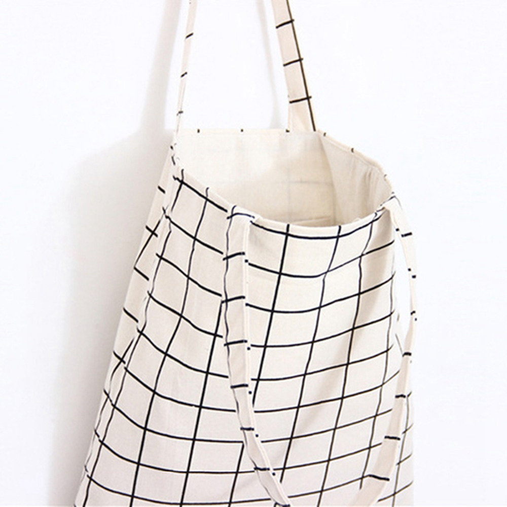 Canvas Tote Bag Casual Beach HandBag Eco Shopping Bag Daily Use Foldable Canvas Shoulder Bag Plaid Canvas Tote for Women Female