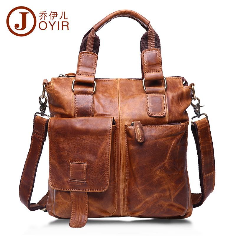 JOYIR Genuine Leather Briefcase Shoulder Tote Messenger Bags Men Business Laptop Handbags Crossbody Bags baobao mva genuine leather men bag business briefcase messenger handbags men crossbody bags men s travel laptop bag shoulder tote bags