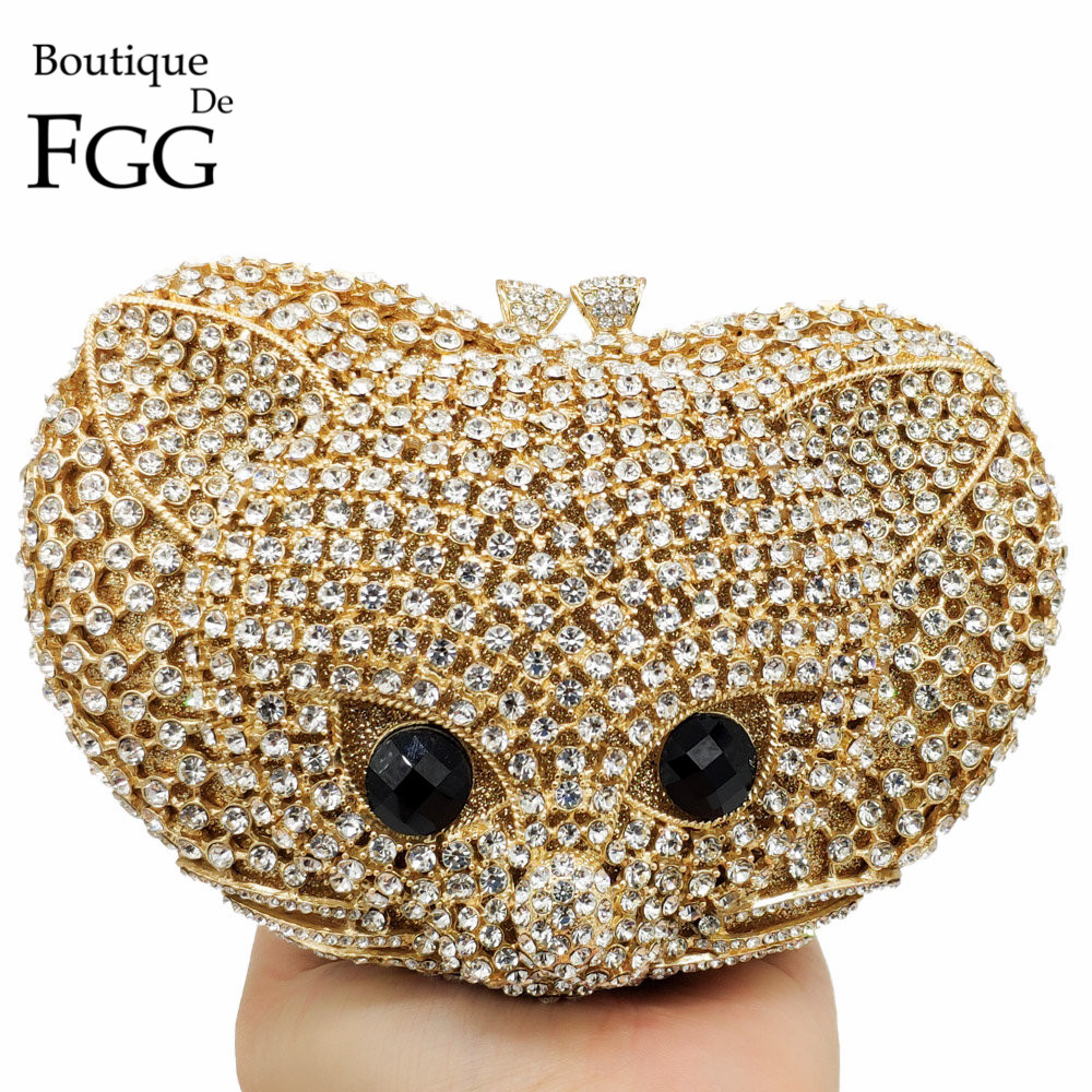 Boutique De FGG Lovely 3D Fox Shape Women Animal Evening Bag Luxury Diamond Minaudiere Clutch Wedding