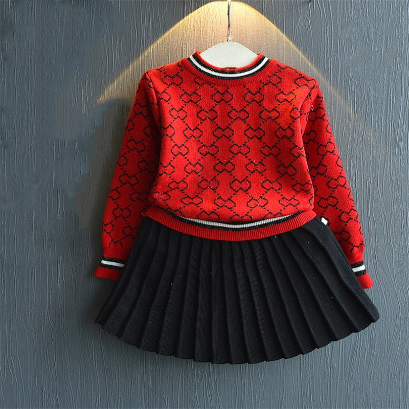 Amya Child Toddler Woman Winter Outfits Knitted Sweater + Pleated Skirt 2pcs Autumn Women Clothes Set Christmas Women Outfit Units Clothes Units, Low-cost Clothes Units, Amya Child Toddler Woman...