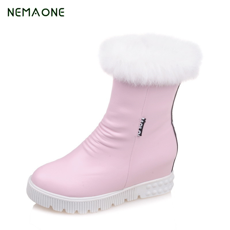 NEMAONE 2017 women winter shoes women's ankle boots the new fashion casual fashion flat warm woman snow boots free shipping