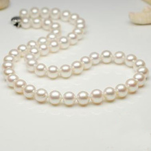 New Arriver Stunning Pearl Jewellery,Large AAA 9-10mm High Quality Round Real Freshwater Pearl Necklace