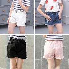 Модные однотонные шорты для девочек летняя детская одежда джинсовые