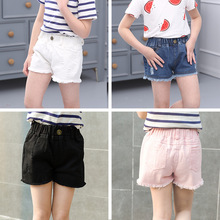 Girls Fashion Solid Color Shorts Summer Children Clothing Baby girl Denim Shorts For Kids Clothes Hole Cowboy Shorts For 2-10 Y
