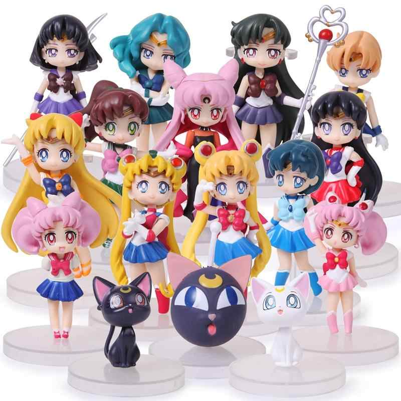 16pcs/lot Anime Sailor Moon Figures Q Version Tsukino Sailor Mars Mercury Jupiter Venus Saturn PVC Figure Toys