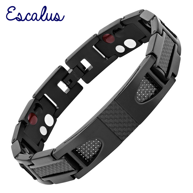 Escalus Magnetic Pure Titanium Black Bracelet For Men Carbon Fiber Stylist Germanium Charm New Bracelets Wristband