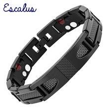 Escalus Magnetische Pure Titanium Zwarte Armband Voor Mannen Carbon Fiber Stylist Germanium Charm Nieuwe Armbanden Polsband