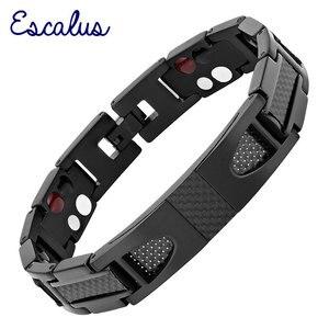 Image 1 - Escalus magnético puro titânio preto pulseira para homens estilista de fibra carbono germânio charme novo pulseiras