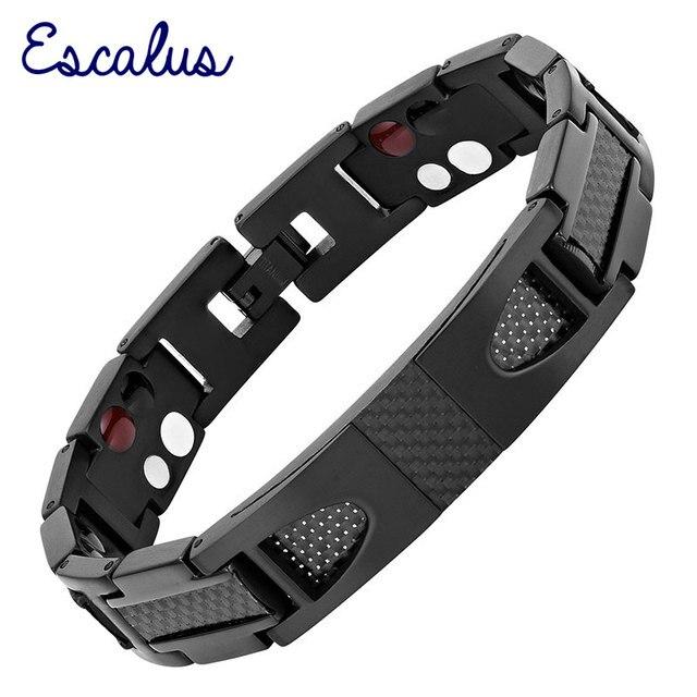 Escalus magnético puro titânio preto pulseira para homens estilista de fibra carbono germânio charme novo pulseiras