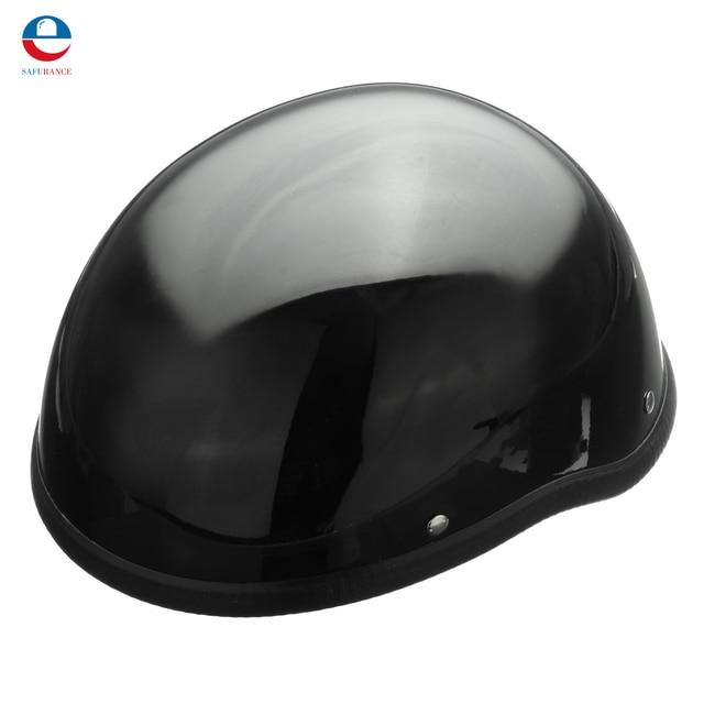 NEW ABS Gloss 55-60cm Black Motorcycle Safety Half Helmet Open Face Chopper Skull Cap Biker Pilot Cruiser