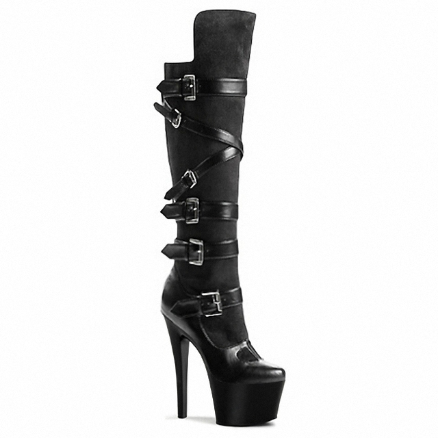 2017 sexy clubbing high heels women motorcycle boots 17-15cm high heels boots black knee high boots
