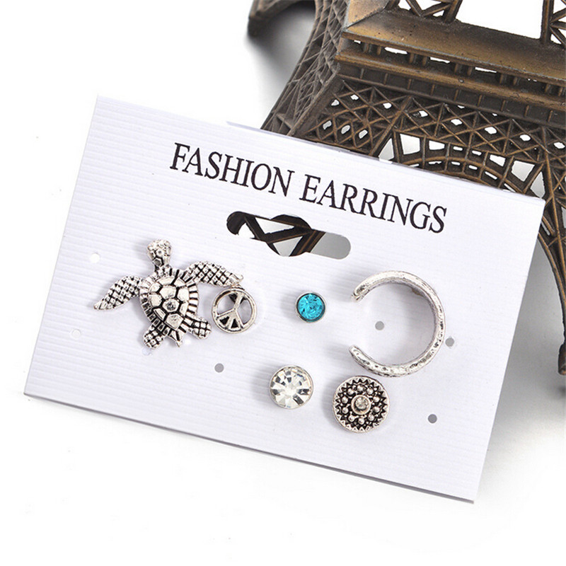 Bohemian Retro Silver Color Alloy Sea turtle Round Shaped Stud Earring set For Women Jewelry 5pcs