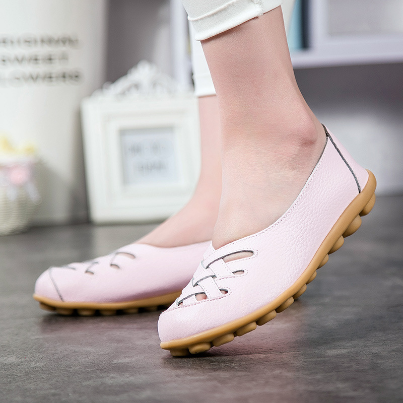 Women 39 s Shoes Casual Genuine Leather Woman Loafers Female Flats Leisure Ladies Mother Driving Shoe Solid Boat Shoes in Women 39 s Flats from Shoes