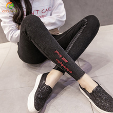 Pencil Slim Skinny Big Yards Lmitation Jeans Pants Women Spring Autumn Letters Embroidery Stretch Trousers Ladies Vintage Pants