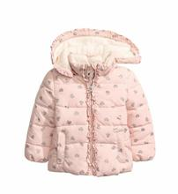 New Girls baby Love printed lace hooded cotton padded clothes princess Add wool Cotton quilted jacket