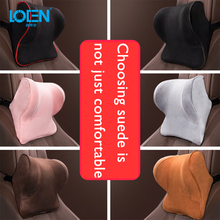 LOEN Memory Foam Car Lumbar Support Neck Pillow Breathable Suede Seat Cushion Car Headrest Lumbar Support For Car Home Travel