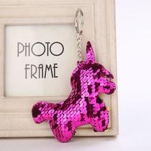 Cute Unicorn Sequin Pom Pom Key Pendant Colorful Stuffed Unicorn Doll Kids Toys Girls Bag Hang Pendant Key Chain Speelgoed Gift