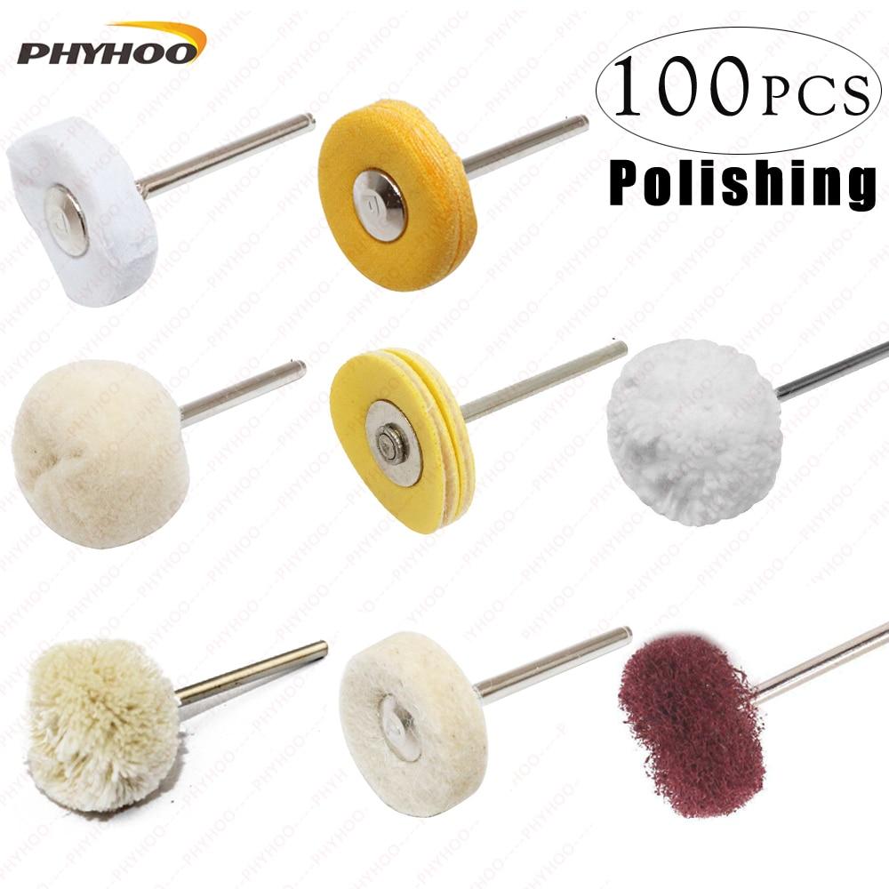 Polishing Wheel Fiber Wheel Cotton Wheel Wool Wheel  Handle For Dremel Rotary Tools Fine Polish Jewelry Pack Of 100Pcs