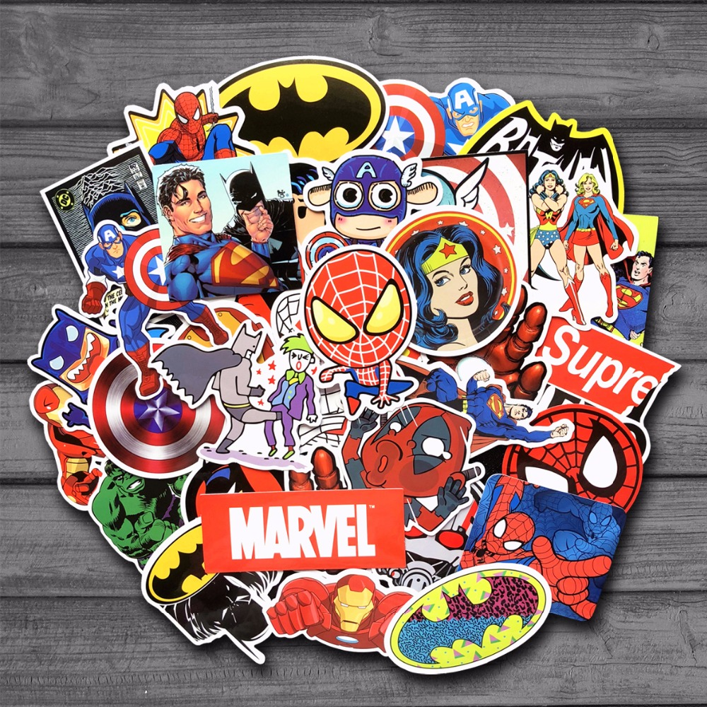 new-50-pcs-lot-stickers-for-marvel-super-hero-dc-for-car-laptop-notebook-decal-fridge-skateboard-batman-superman-hulk-iron-man