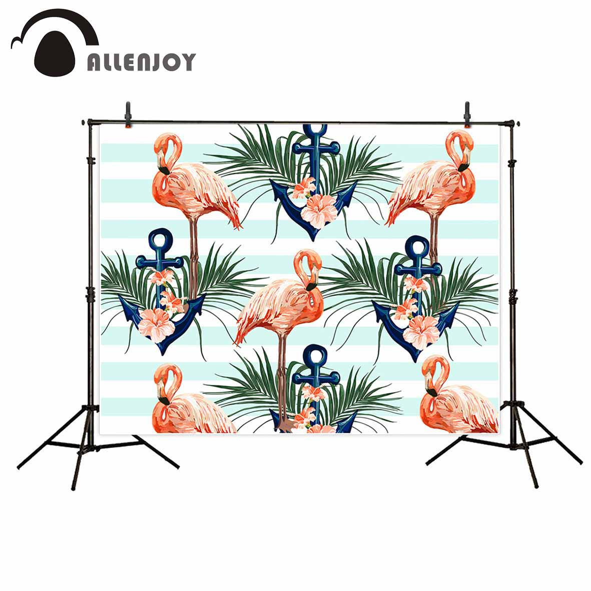 Allenjoy Flamingo anchors tropical background blue stripes photography backdrops photo studio backdrop professional photocall allenjoy photography backdrop library books student child newborn photo studio photocall background original design