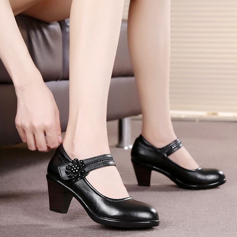 34 42 Women Genuine Leather Shoes Pumps