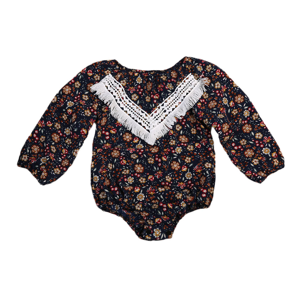 Spring Autumn Toddler Kid Baby Girl Floral Long Sleeve Romper Jumpsuit Lace Stitching Outfit Clothes 0-3T