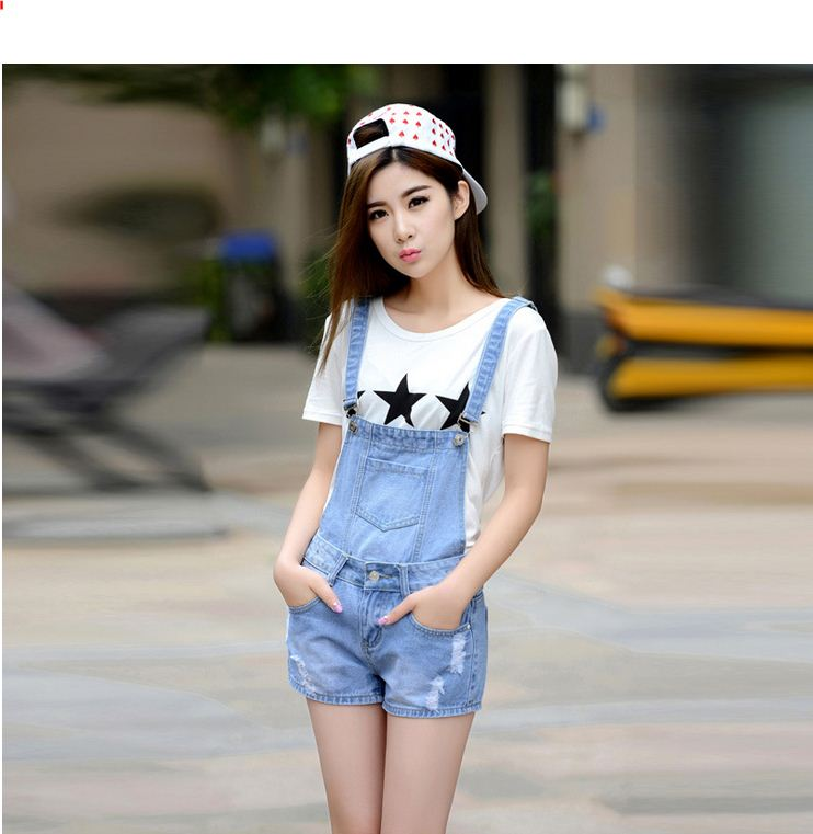 a626215d6b4 Distressed Washed Hole Denim Jumpsuit Romper For Women Denim Coverall  Playsuit Short Jeans Female Jeans Overalls Catsuit-in Rompers from Women s  Clothing on ...