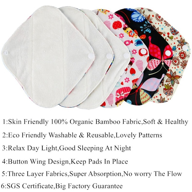 [simfamily] 5+1 Panty Liner Sets Reusable Pure Bamboo Menstrual Cloth Sanitary,Stay Dry Super Absorption Healthy +1 Mini Wet Bag