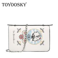 TOYOOSKY Embroidery Leather Flap Bag New Design Women Messenger Bags Casual Clutches Women Shoulder Bags Fashion