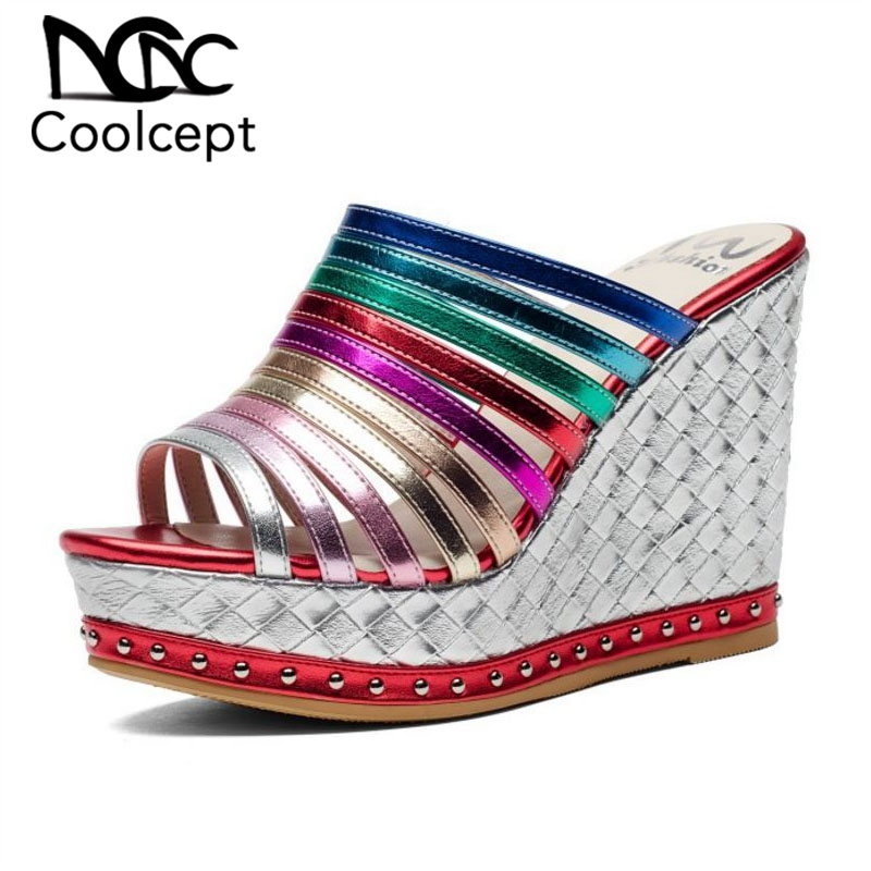 Coolcept Brand Genuine Leather Women Sandals Mixed Color Wedges Slippers Leisure Vacation Beach Rivets Shoes Women Size 34-39Coolcept Brand Genuine Leather Women Sandals Mixed Color Wedges Slippers Leisure Vacation Beach Rivets Shoes Women Size 34-39
