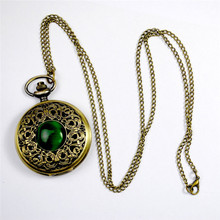 Fashion Quartz Pocket Watch Big Hollow Emerald Stone Vintage Necklace Pendant Fob Watches Clock Chain for Men Women Gifts fashion men women vintage quartz pocket watch alloy glass dome necklace pendant unisex sweater chain clock gifts ll 17