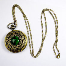 Fashion Quartz Pocket Watch Big Hollow Emerald Stone Vintage Necklace Pendant Fob Watches Clock Chain for Men Women Gifts(China)