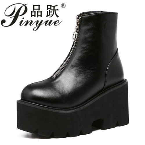 Spring Women Wedges Platform Boots 2018 Fashion Front Zipper Black Ankle Boots for Women High Heel Black Boots Plus Size цена 2017
