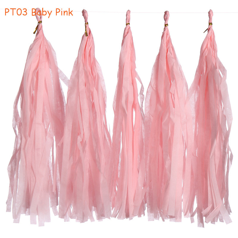 14inch 3packs(5pcs/pack) Baby Pink Hanging Tissue Paper Tassel Garland Wedding Birthday Party Baby Shower Decorations