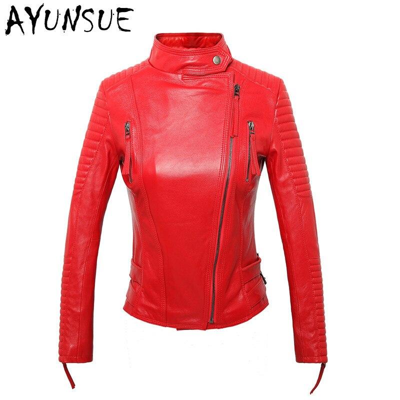 Femmes Vêtements Véritable red Plus Wxf019 Veste Mouton La Ayunsue Peau Vestes Survêtement Slim Black Fit En De Feminina Taille Cuir Rouge 00qIw