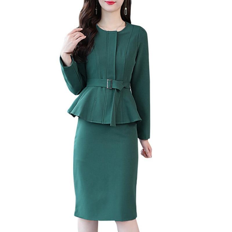 Elegant Dress Suit Women Fashion Zipper Work Office Lady Formal Business Wear Female Dress With Belt Jacket & Blazer Two Pieces